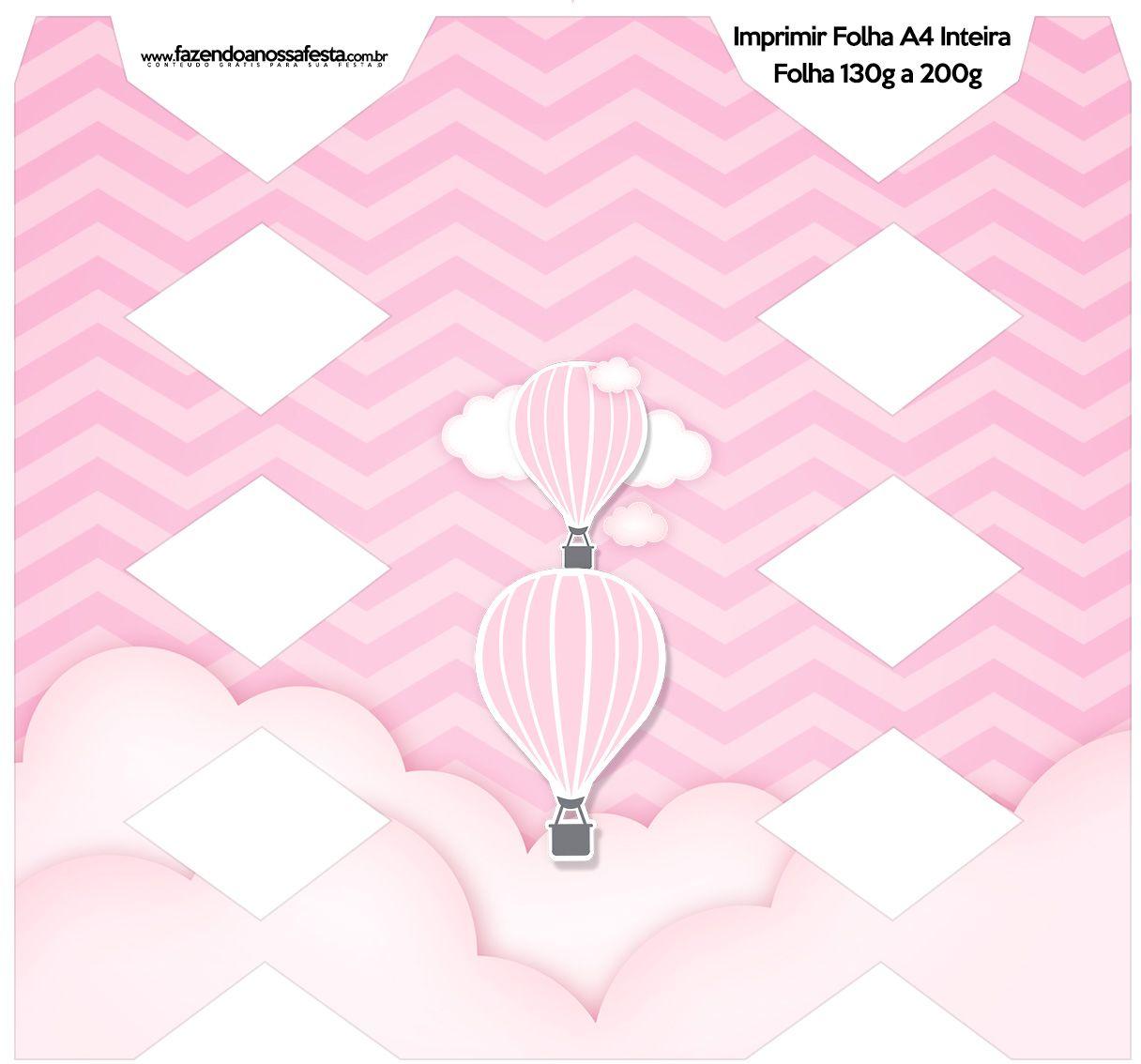 Caixa Bala Balão de Ar Quente Rosa Kit Festa | Globo aerostatico ...