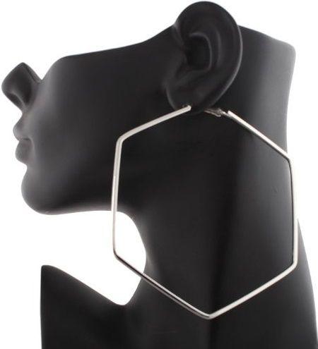 JOTW - 4INCH - HEXAGON SHAPE - EARRINGS -- SILVER