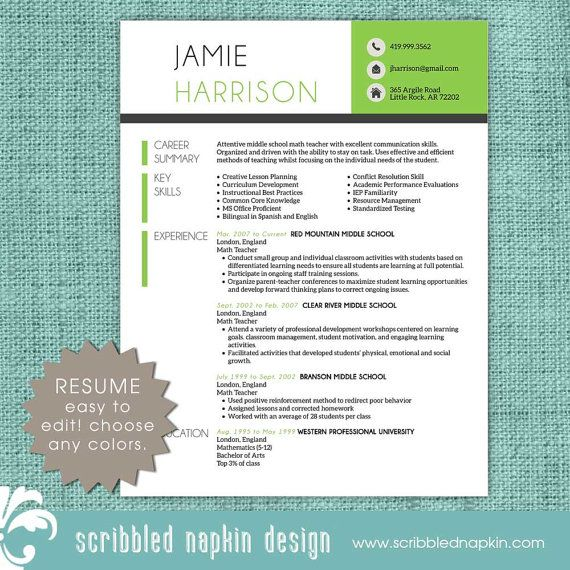 Teacher Resume Template Resume With Free Cover By Scribblednapkin