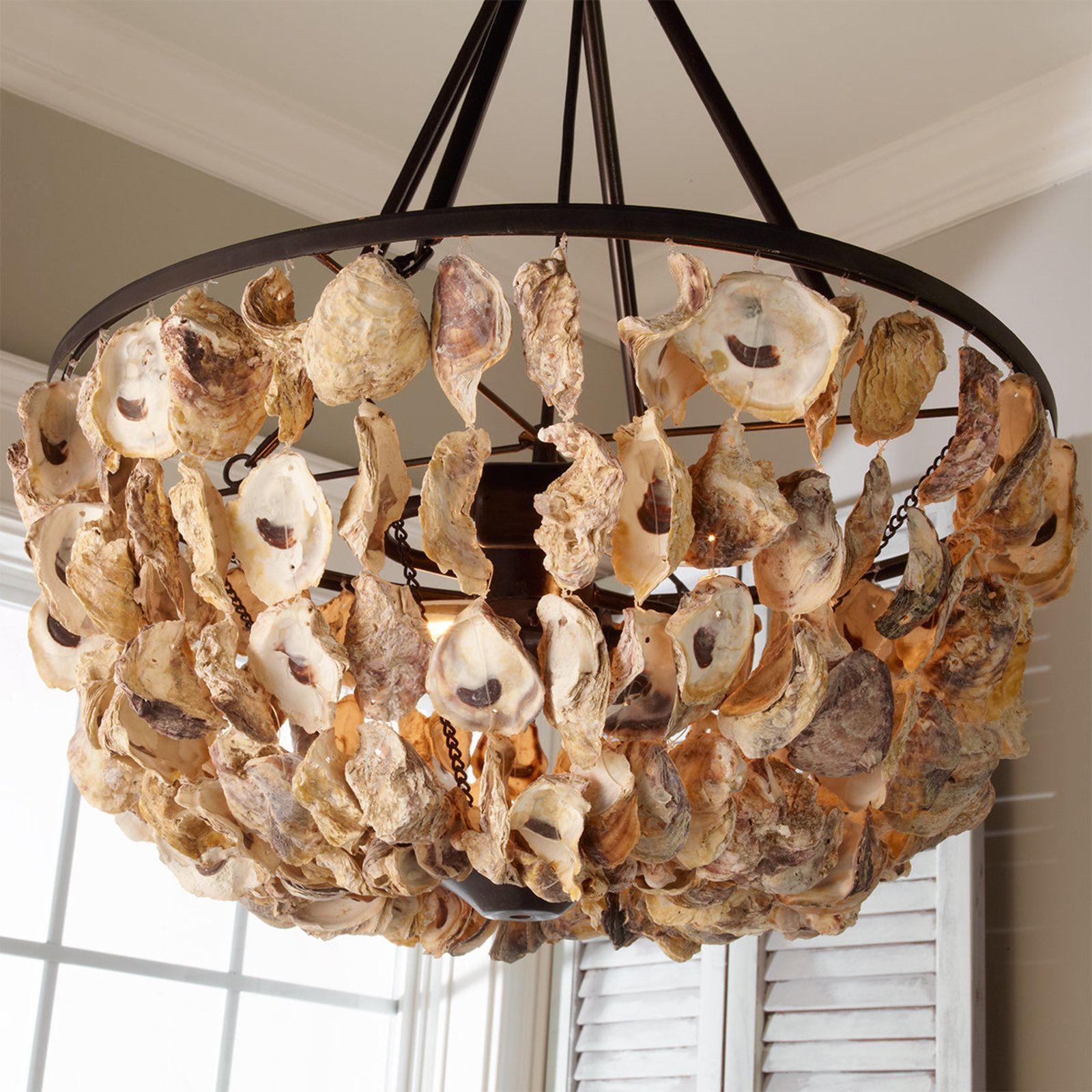 Oyster shell basket chandelier oyster shells chandeliers and house oyster shell basket chandelier mozeypictures Images