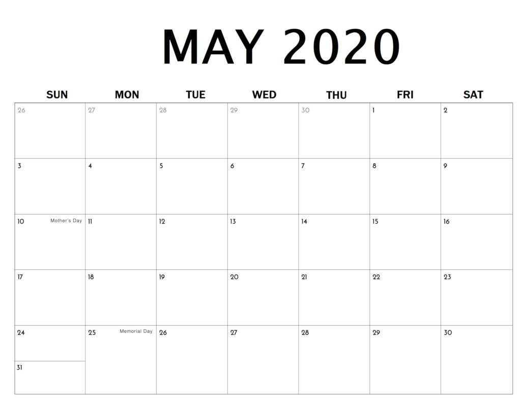 Blank Calendar May In