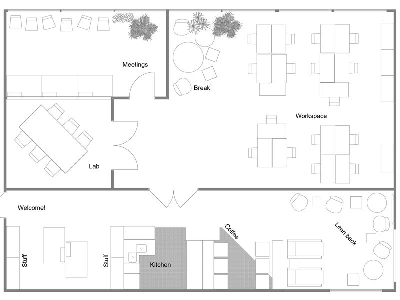 Plan Your Office Design With Roomsketcher Office Floor Plan Coworking Office Design Floor Planner