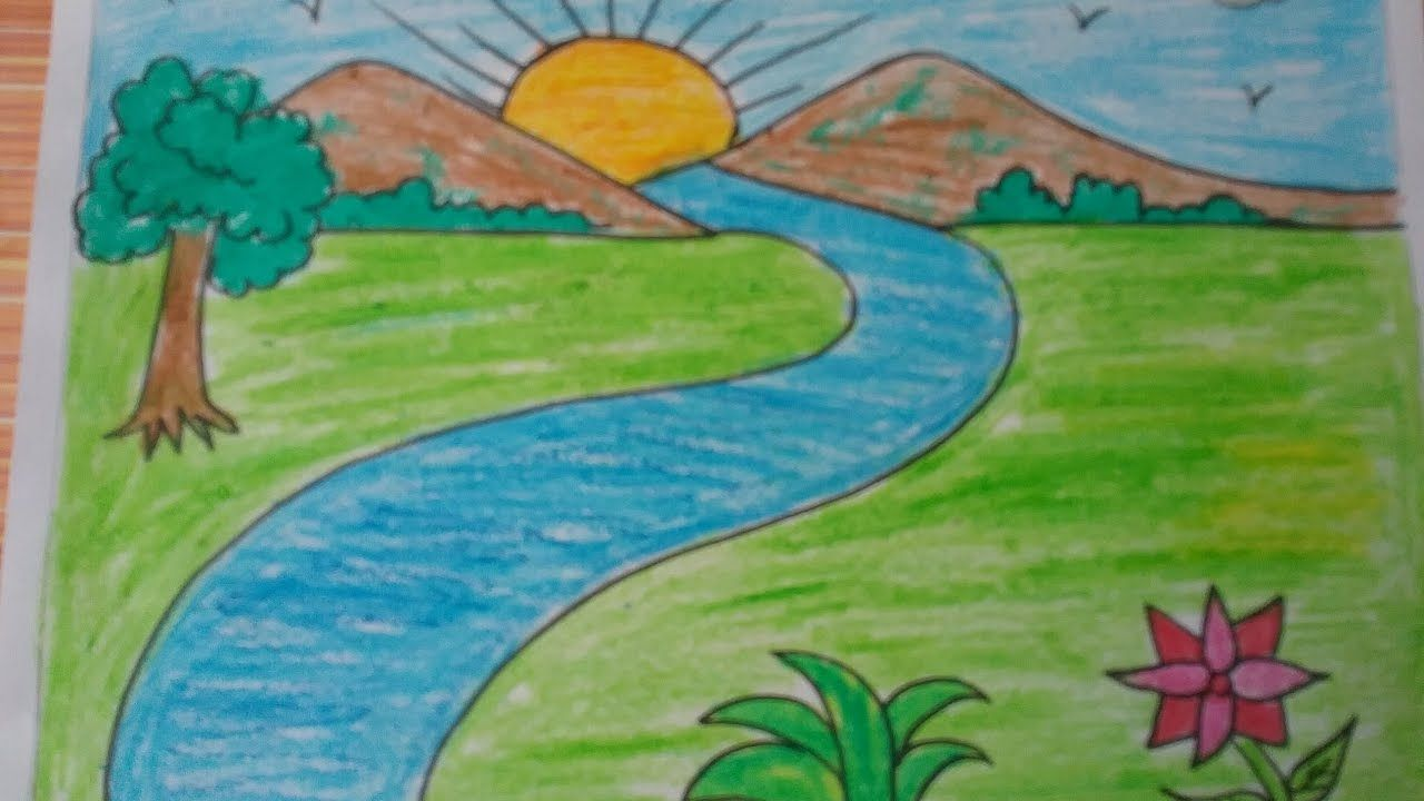 How To Draw A Landscape Kids Drawing Mountains Drawing With Basic Shapes Drawing Scenery Easy Nature Drawings Scenery Drawing For Kids