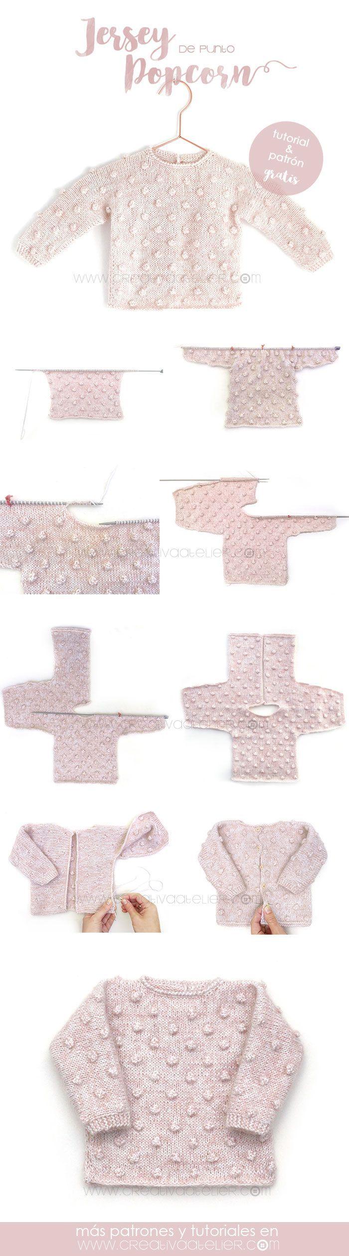 Jersey de Punto POPCORN para Bebé - [ Tutorial y patrón ]   Pullover ...