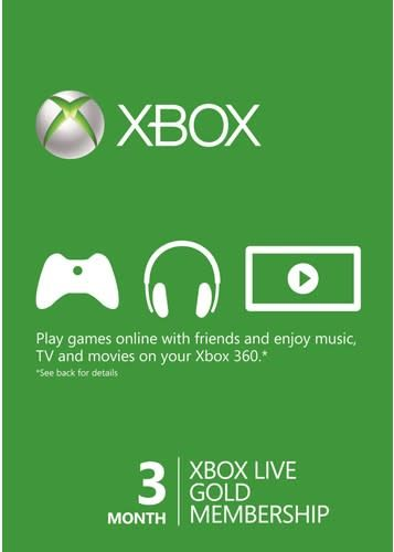 Month Xbox Live Gold Membership Card Xbox One  Xbox Live