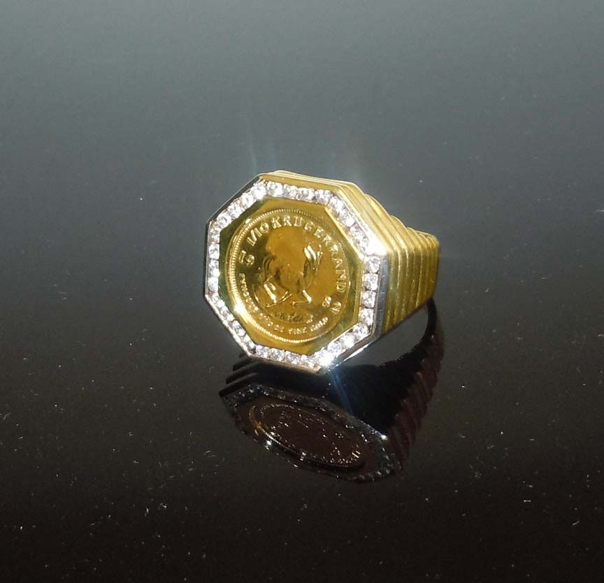 Mens 14kt Gold 1 10 Krugerrand 1ct Diamond Octagonal Pinky Ring With Images Pinky Ring Rings 14kt Gold