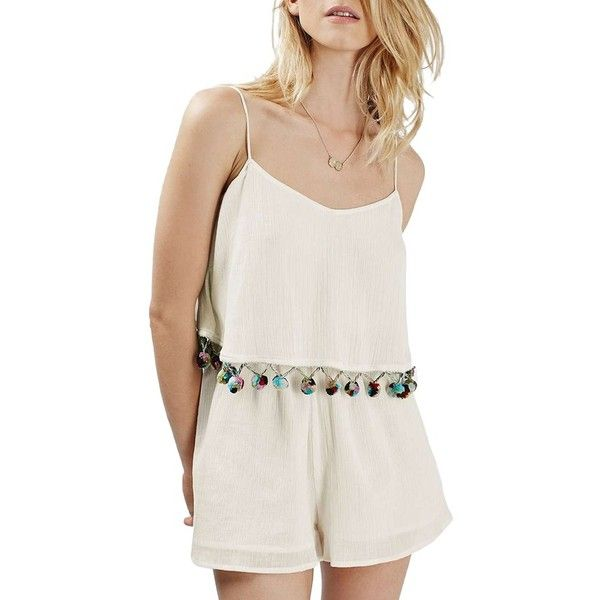 Petite Women's Topshop Pompom Trim Popover Romper (78 CAD) ❤ liked on Polyvore featuring jumpsuits, rompers, cream, petite, colorful romper, playsuit romper, cotton rompers, cotton romper and ruffle romper