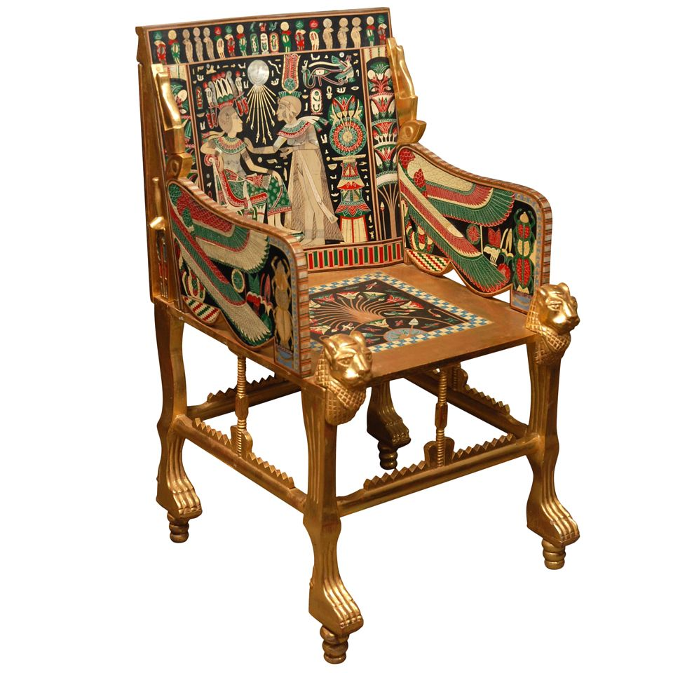 Ancient roman furniture chairs - Circa 1920 S English Egyptian Revival Giltwood And Painted Bone Inlaid Armchair