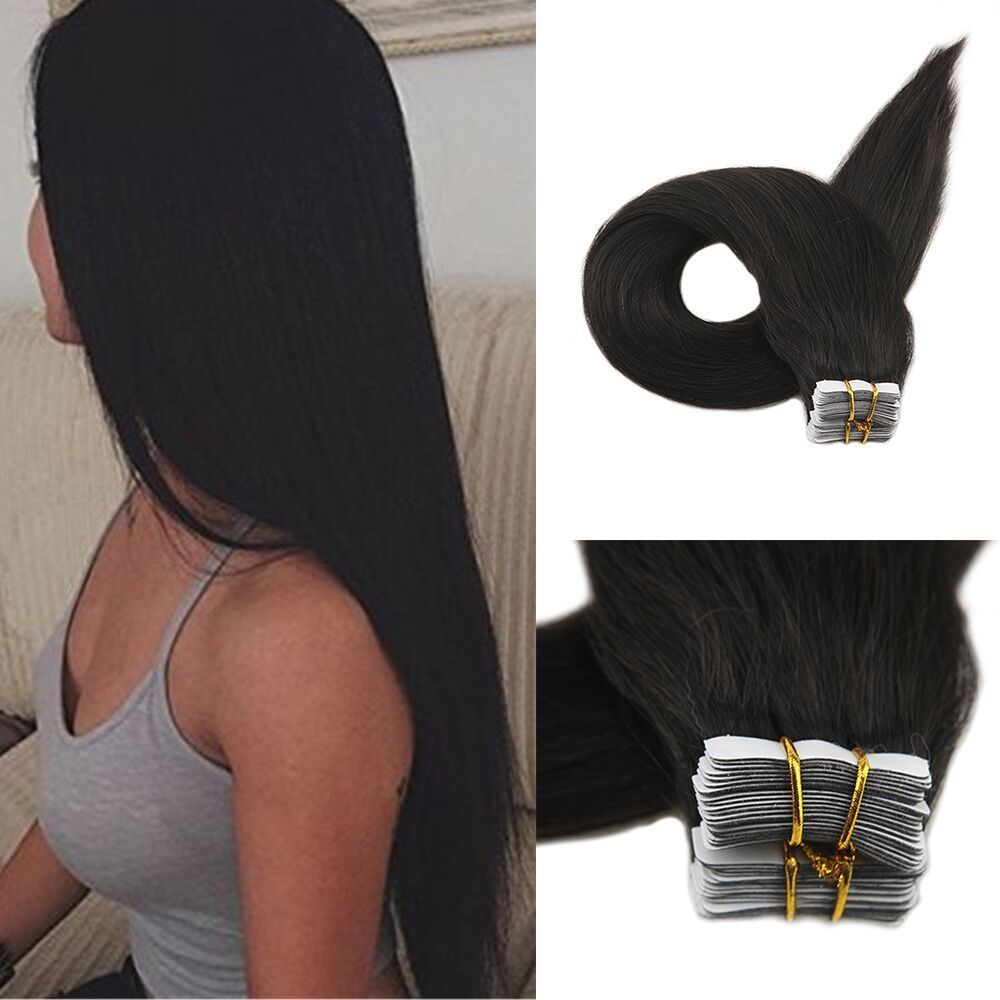 Color 1b Off Black Tape In 100 Human Hair Extensions Double Drawn