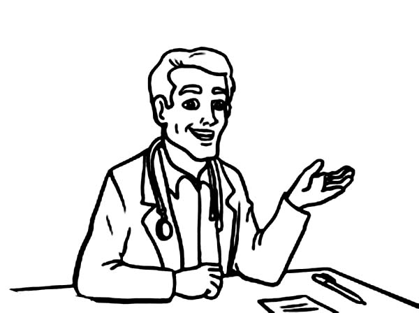 Doctor Explain Why Patient Is Sick Coloring Page Coloring Sun Coloring Pages Online Coloring Sick