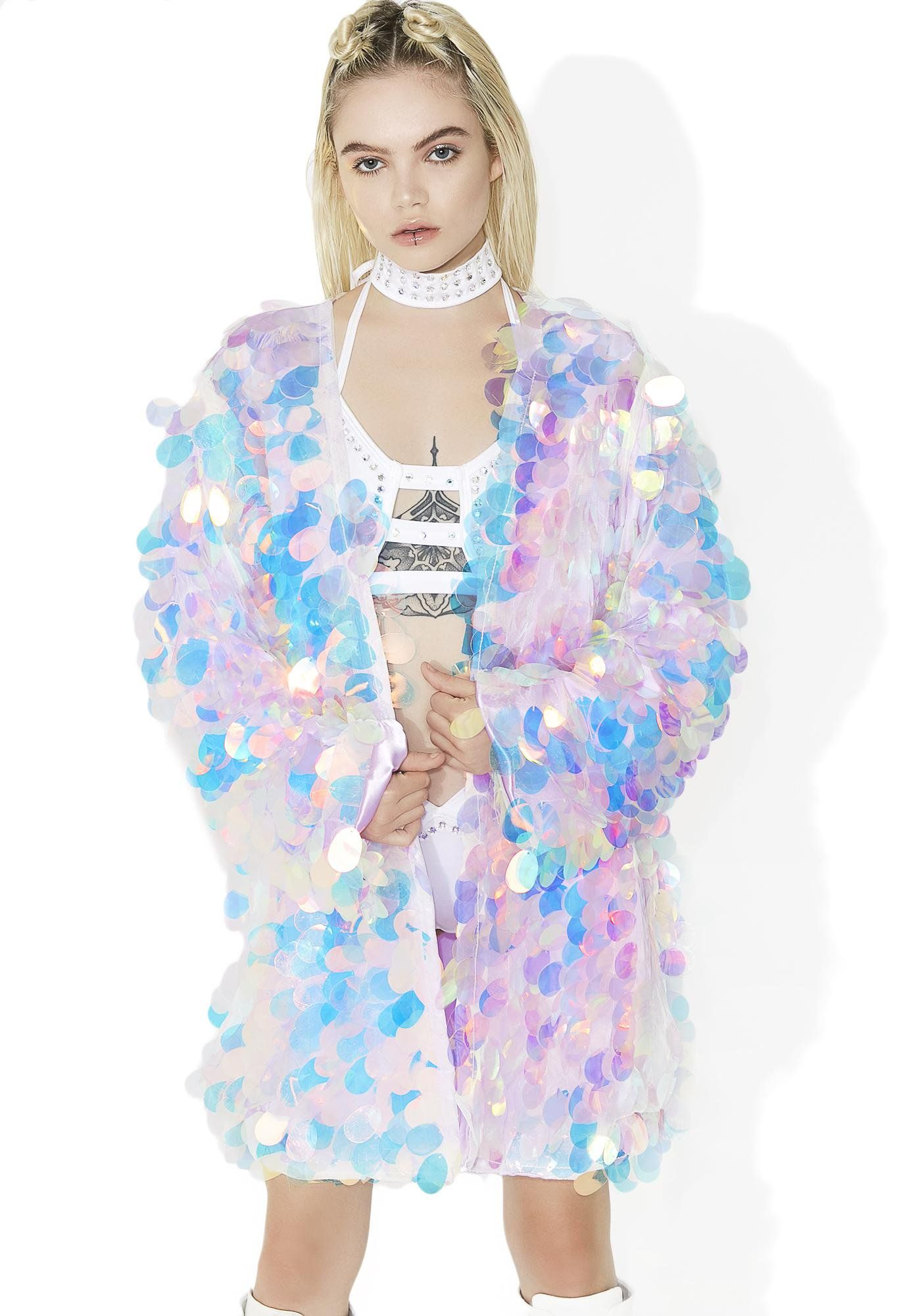 66cb9ddaec This amazing handmade kimono features a supa sparkly N' shiny iridescent pink  sequin construction, satiny light pink inner lining, ...