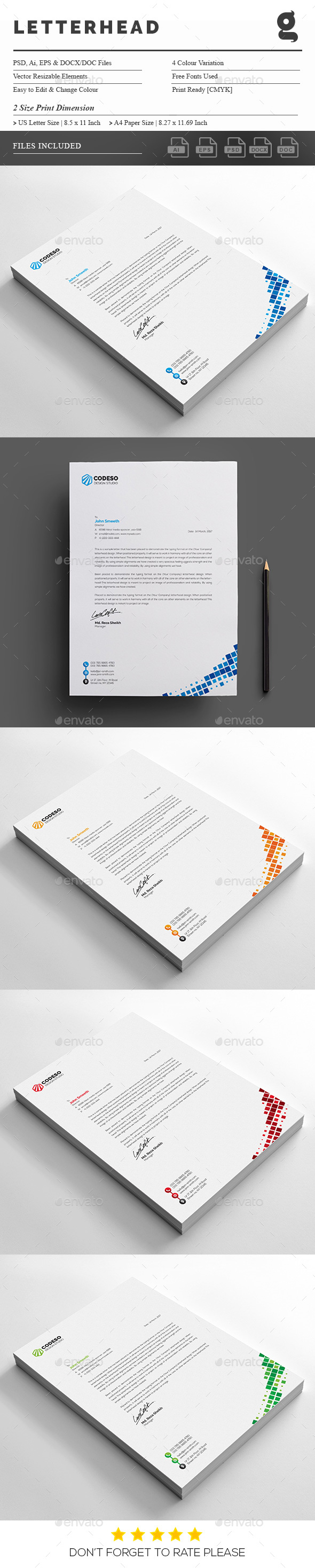 Corporate Business Letterhead Design Template   Stationery Print Template  PSD, Vector EPS, AI Illustrator.