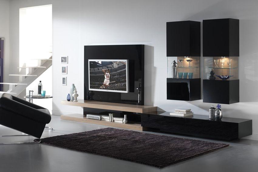 Composici n modular 8 en negro y nogal oscuro 390 cm for Mueble salon lacado alto brillo