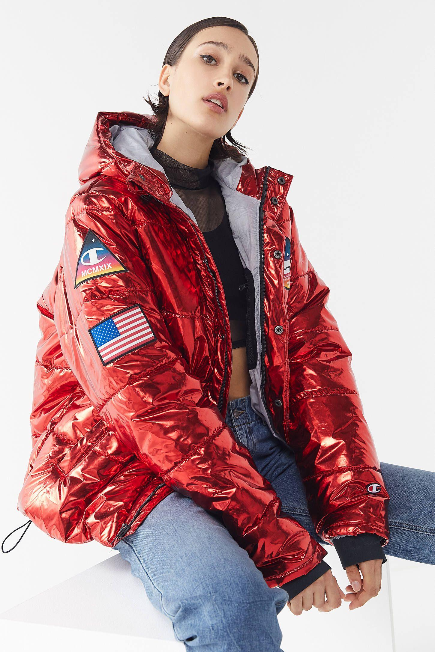 Champion Metallic Zip Front Puffer Coat Puffer Coat Champion Coat Luxury Sportswear [ 2175 x 1450 Pixel ]