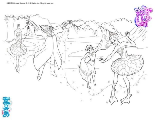 Princess Odette Under Magical Ballet Curse Coloring Page More Barbie Ballerina Sheets On Hellokids