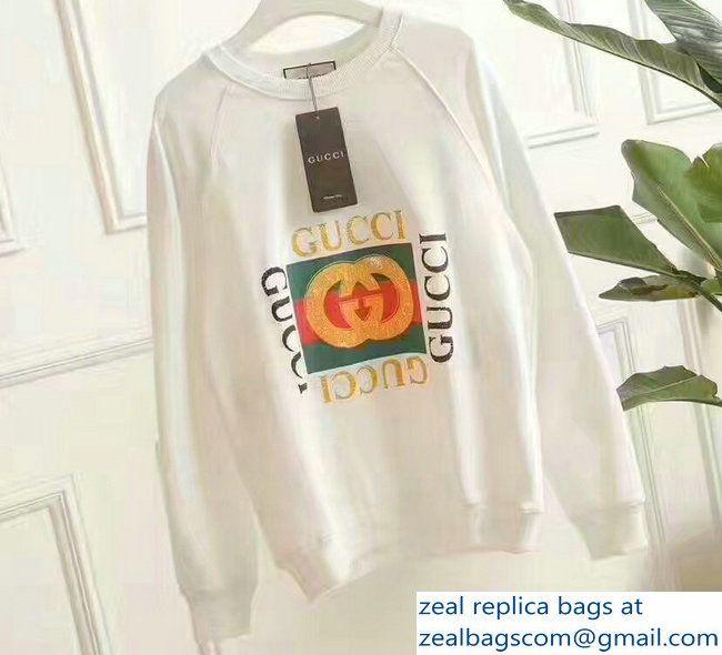 30564ecf3679 Gucci Logo Print Blind For Love White Cotton Sweatshirt 2017 ...