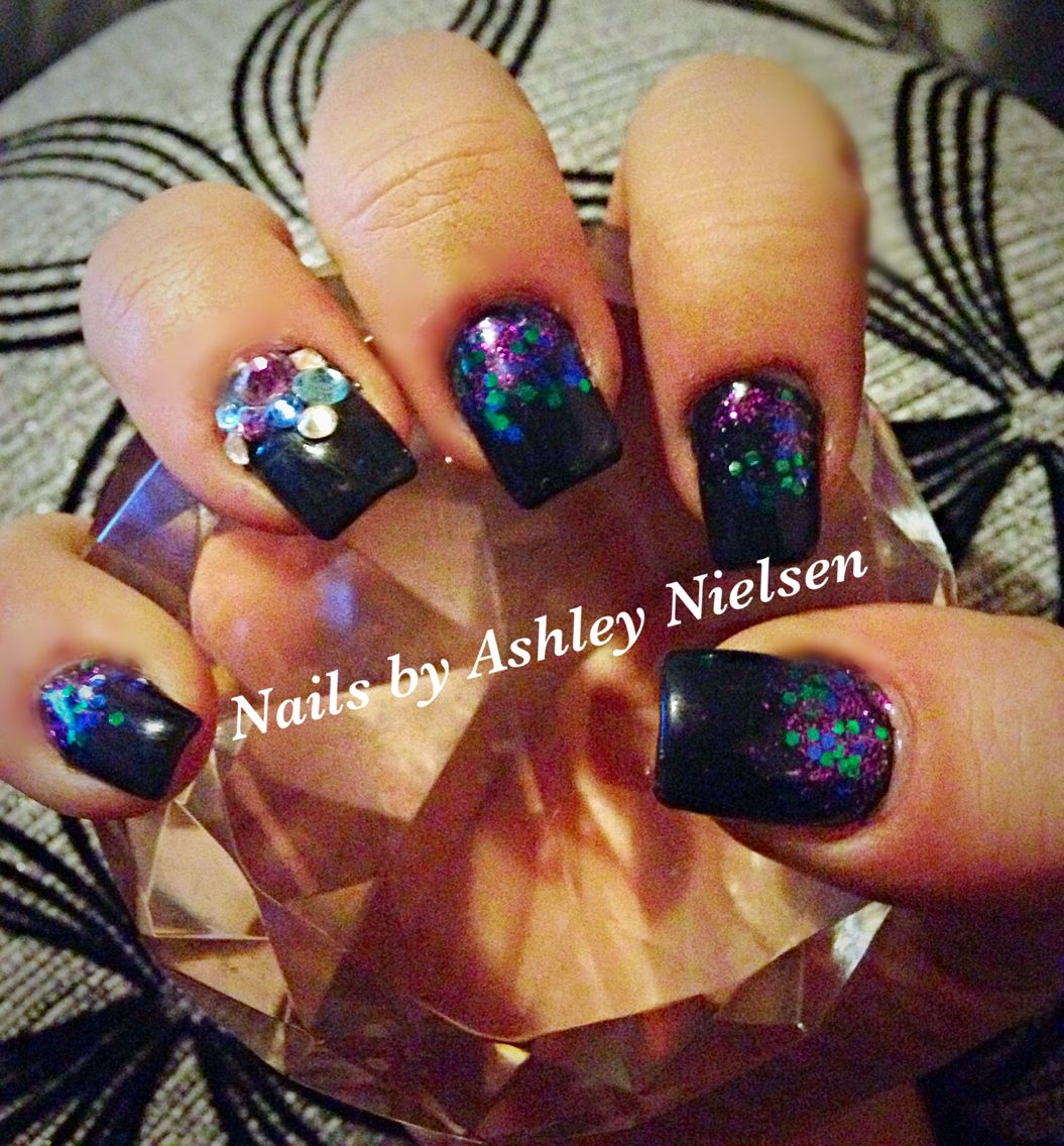 Black gel polish with custom mix peacock colors glitter fade with