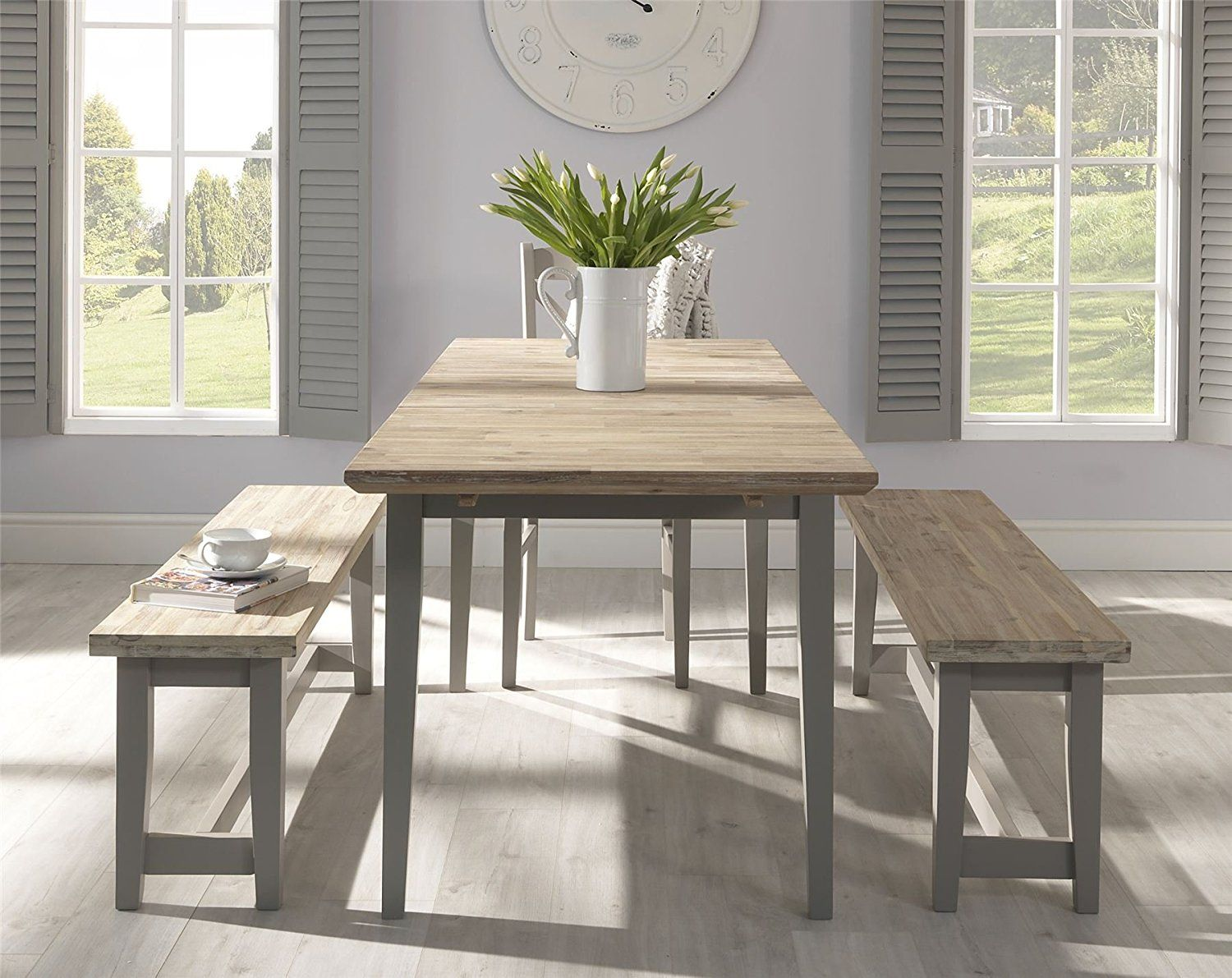 Best Dove Grey Table Bench With Acacia Seat Quality Wooden 400 x 300