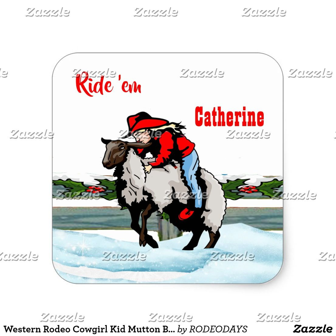 Western Rodeo Cowgirl Kid Mutton Buster Christmas Square Sticker ...
