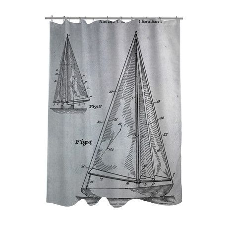 Sailboat 1938 Blueprint Shower Curtain Shower Curtain