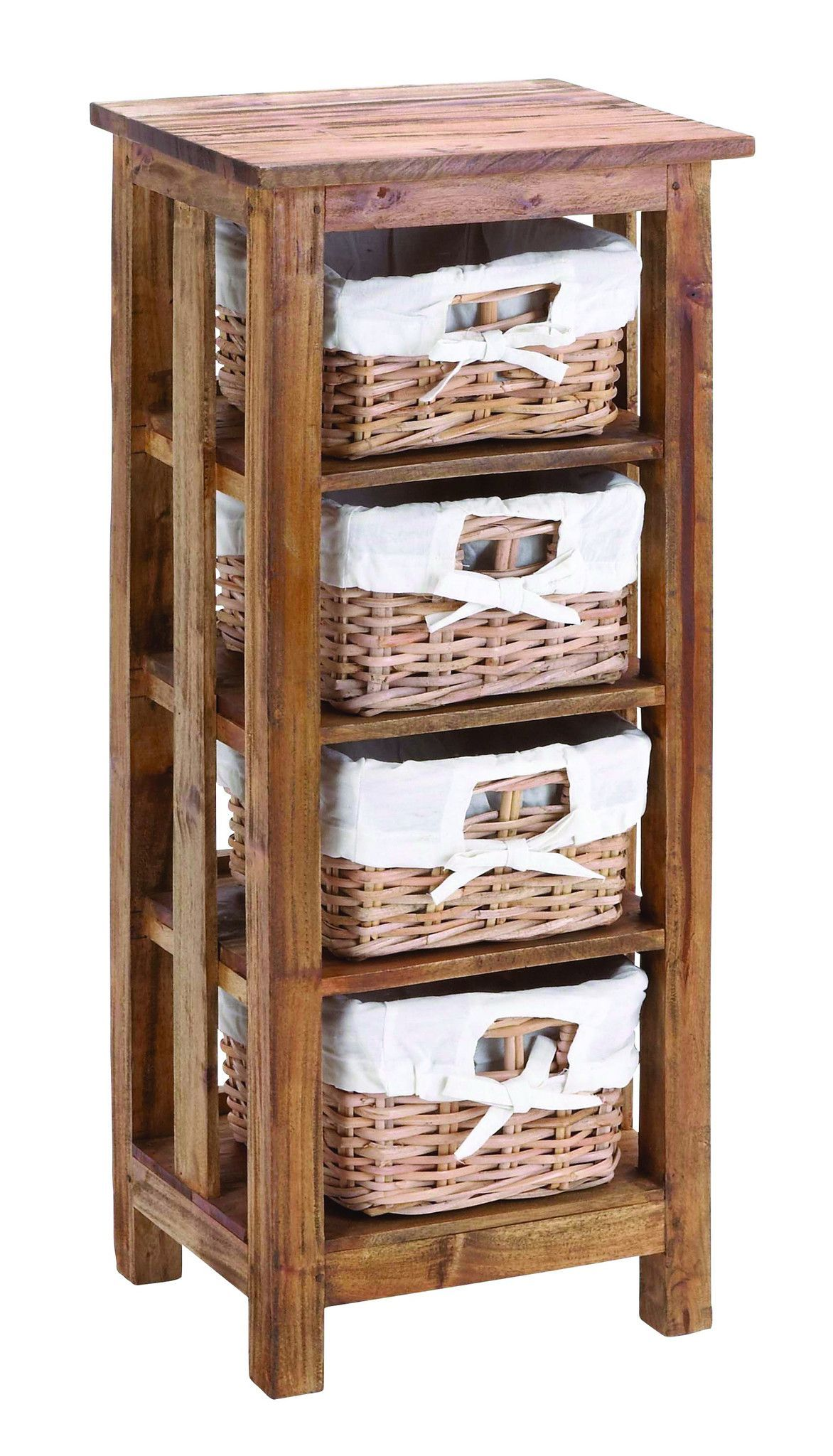mahogany wooden rattan basket with 3 shelves and storage. Black Bedroom Furniture Sets. Home Design Ideas