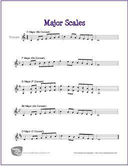 major scales for trumpet free sheet music for trumpet trumpet sheet. Black Bedroom Furniture Sets. Home Design Ideas