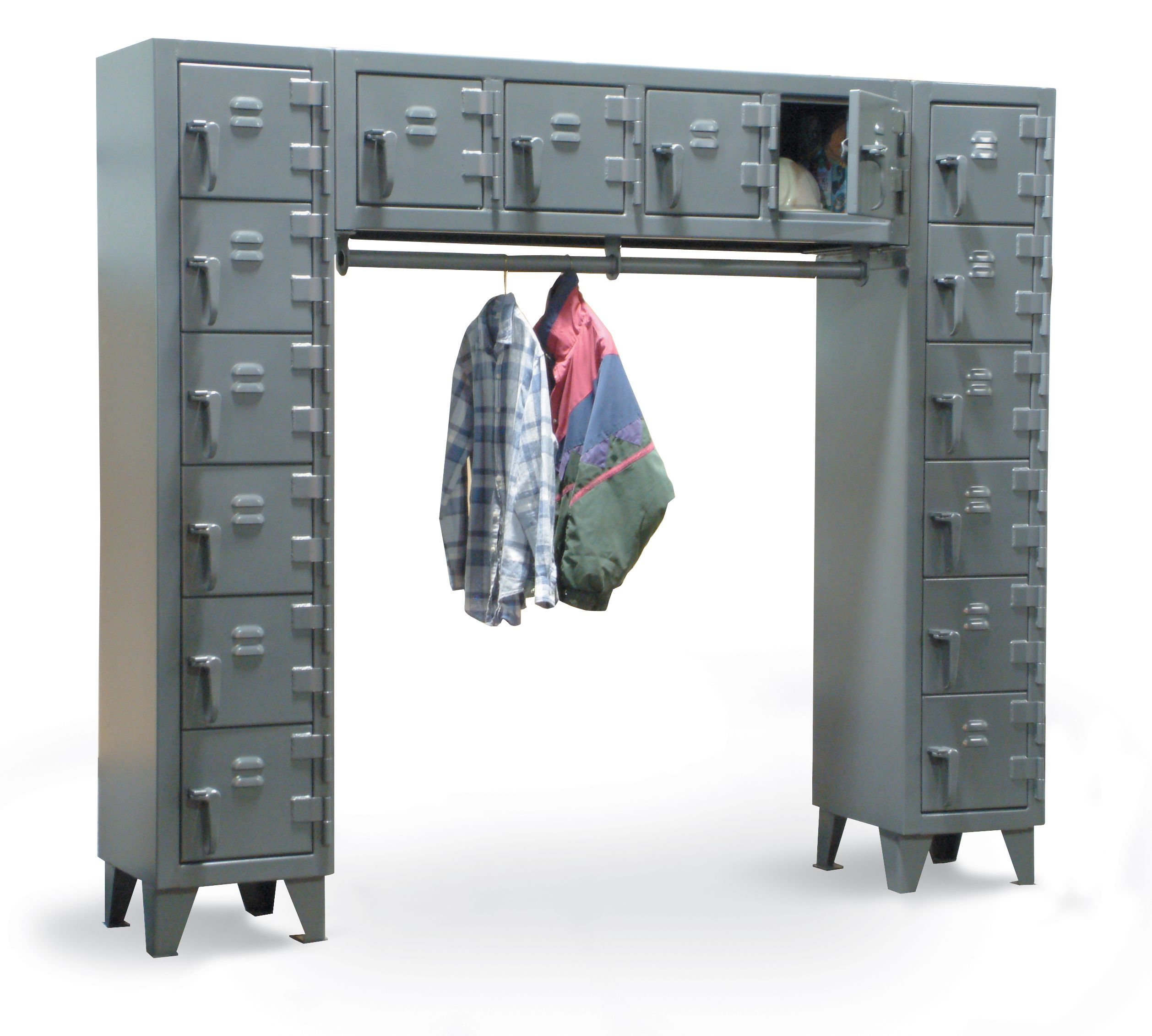 Free Standing partment Locker partment locker with small partments with louvered doors and 1 wardrobe