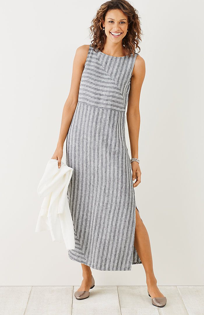 9bab465eba3 long striped linen dress
