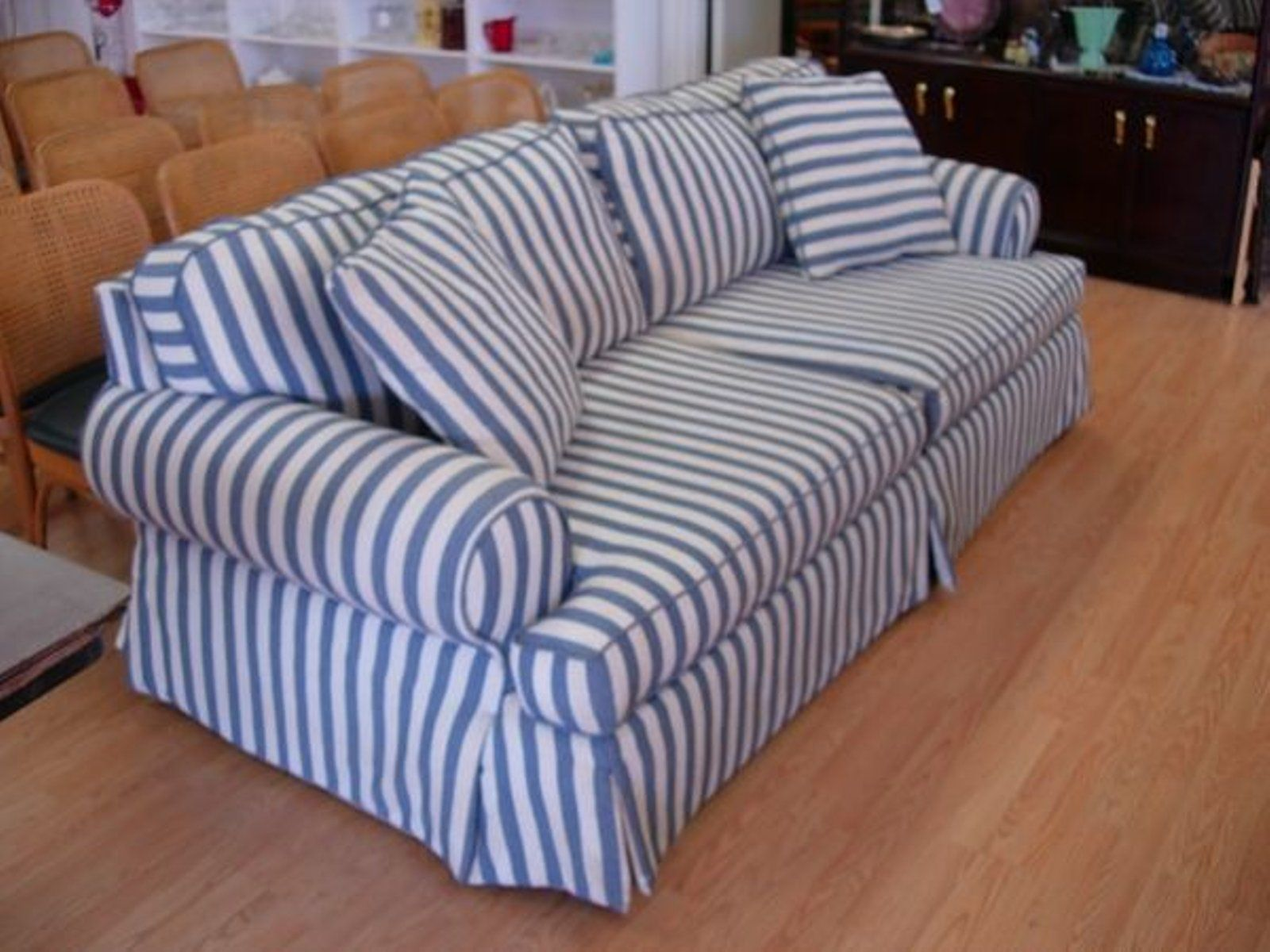 Blue Fl Sofa Outdoor Patio Covers Striped Free Ship American Style