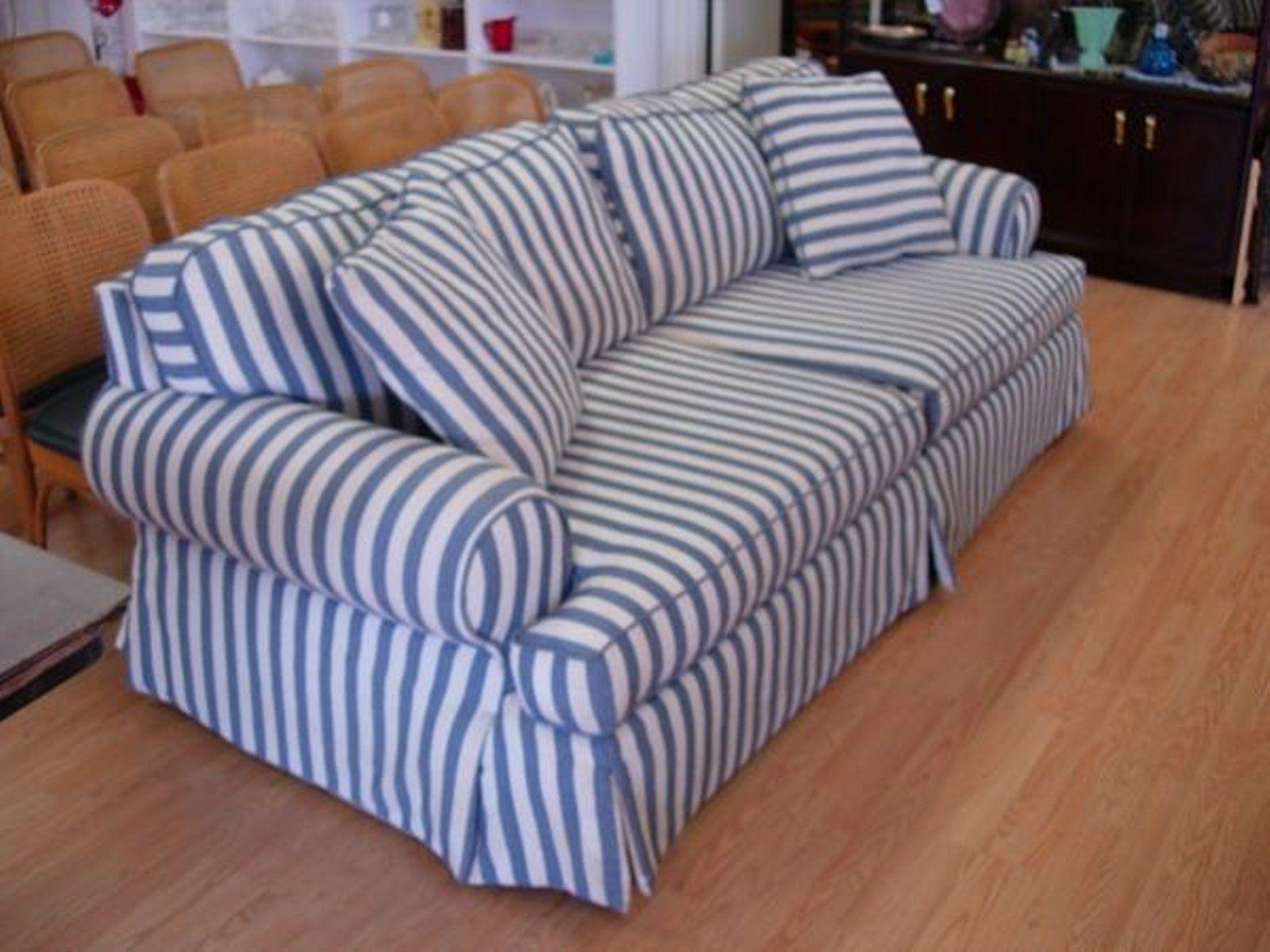 11278 Modern Sofa Blue White Striped Cotton Denim Comf On