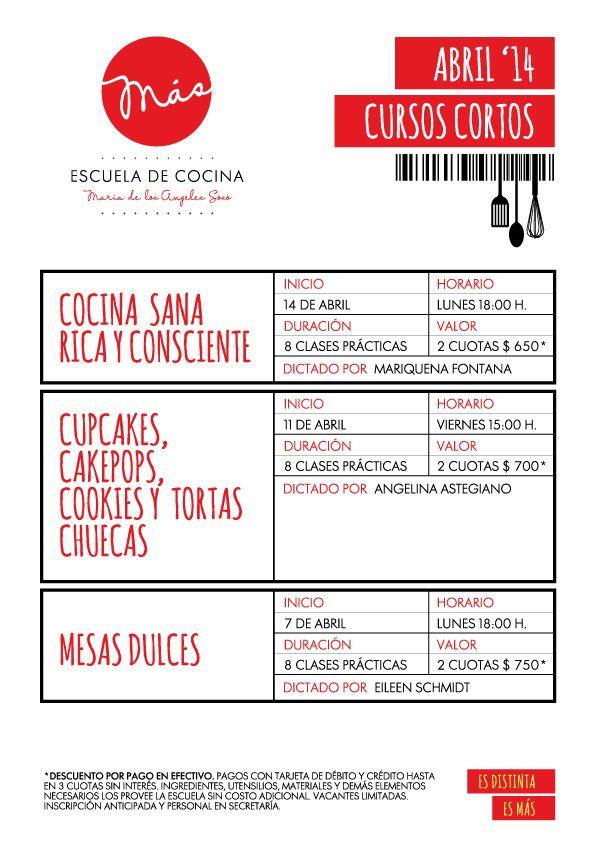 CURSOS CORTOS DE COCINA Y PASTELERÍA | ABRIL 2014 | MÁS Escuela de ...