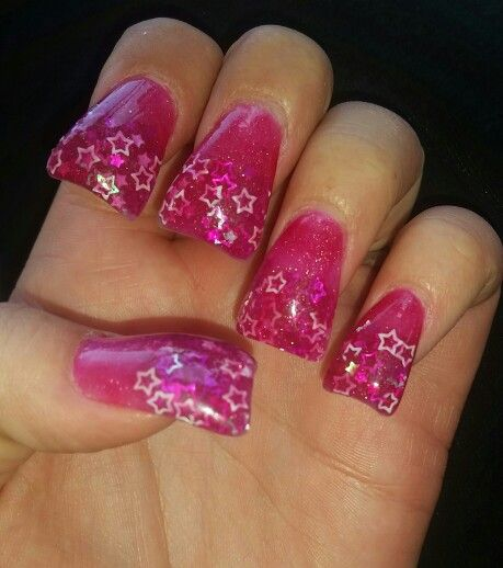 My Own Creation Hot Pink Glitter Acrylic Powder With Loose And Light Stars