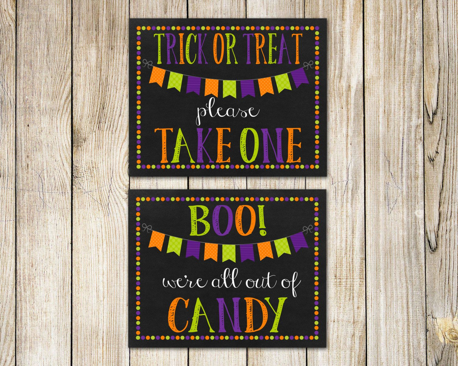Trick or Treat Printable Sign Instant Download Halloween
