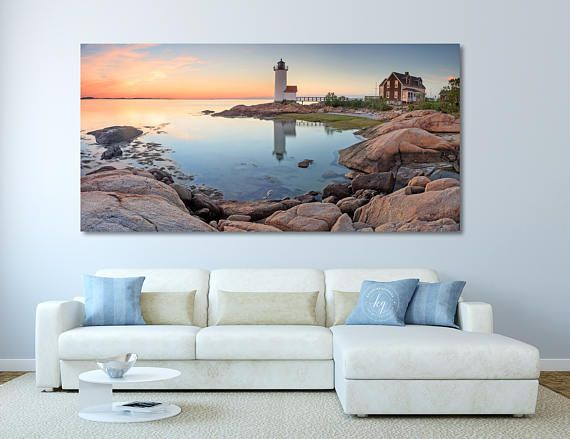 Panoramic Print for Living Room Seascape Sunset Ocean Decor Picture Large Coastal Beach Wall Art