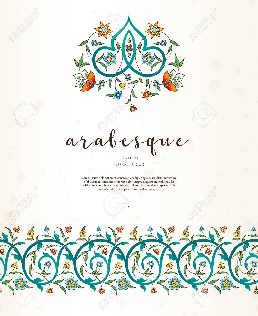 Stock Photo Eastern Floral Place Card Holders Arabesque