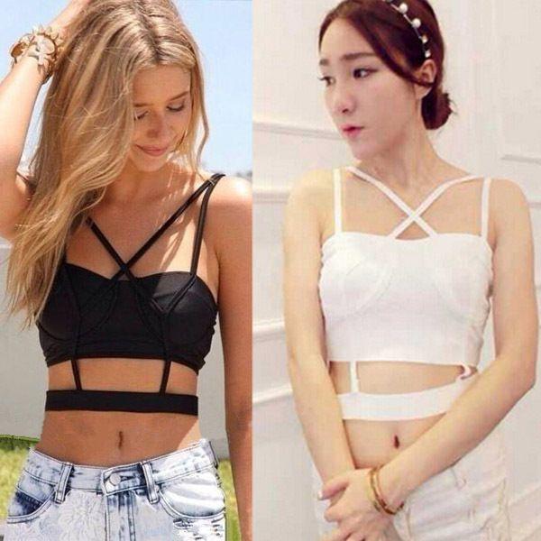 Sexy Lady Boho Cami Cross Backless Stretch Crop Band Bustier Top Bralette Vest A #Bellyanna #TankCami #Clubwear