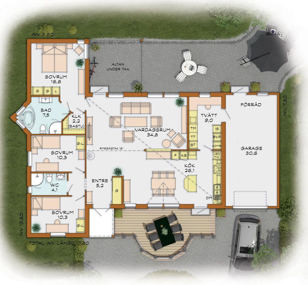 Schwedenhaus bungalow grundriss  Sandhem - Holzhaus - Fertighaus - Schwedenhaus -: Rotkiefer ...