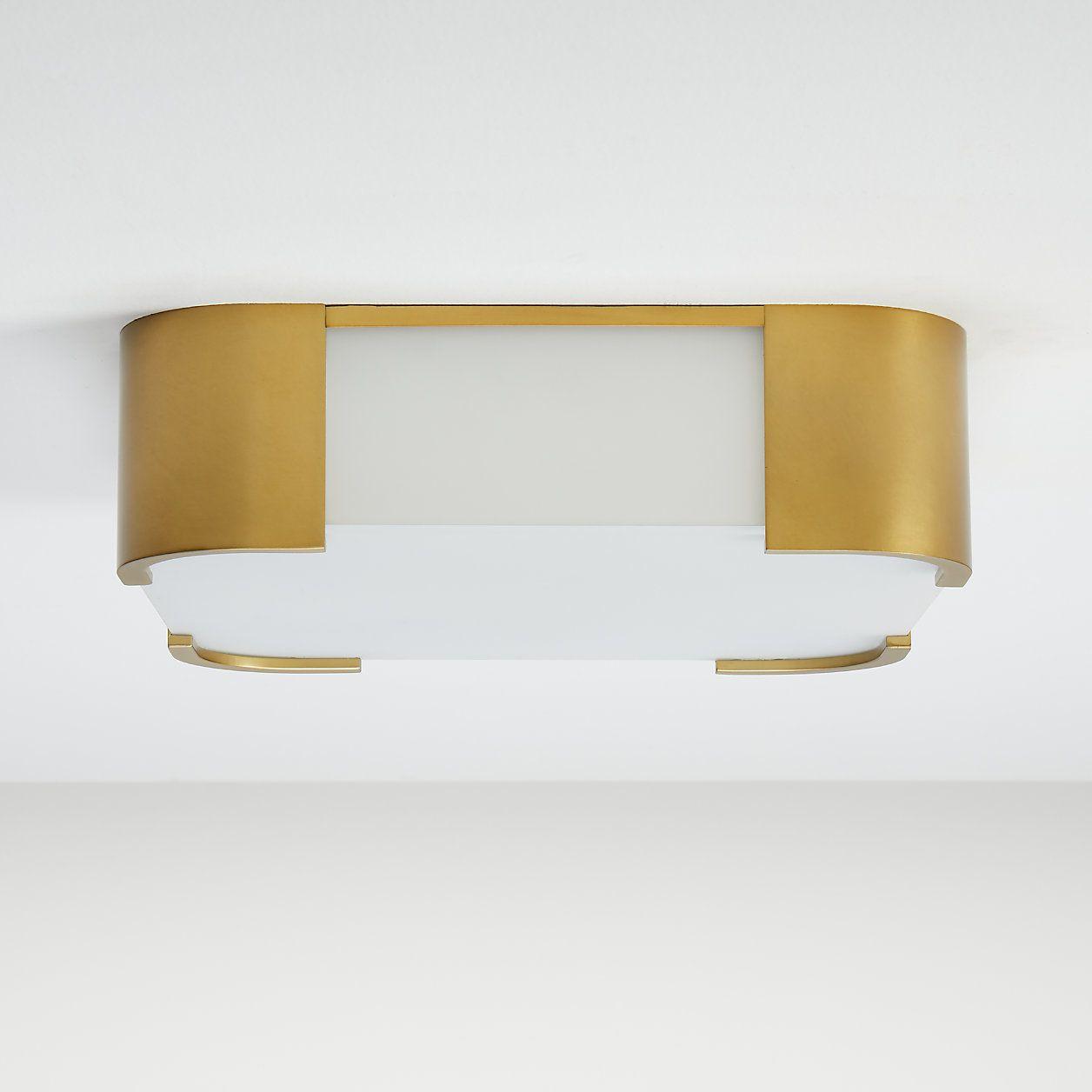 Louis Brass Rectangular Flush Mount Light Crate And Barrel Flush Mount Lighting Rectangular Bronze