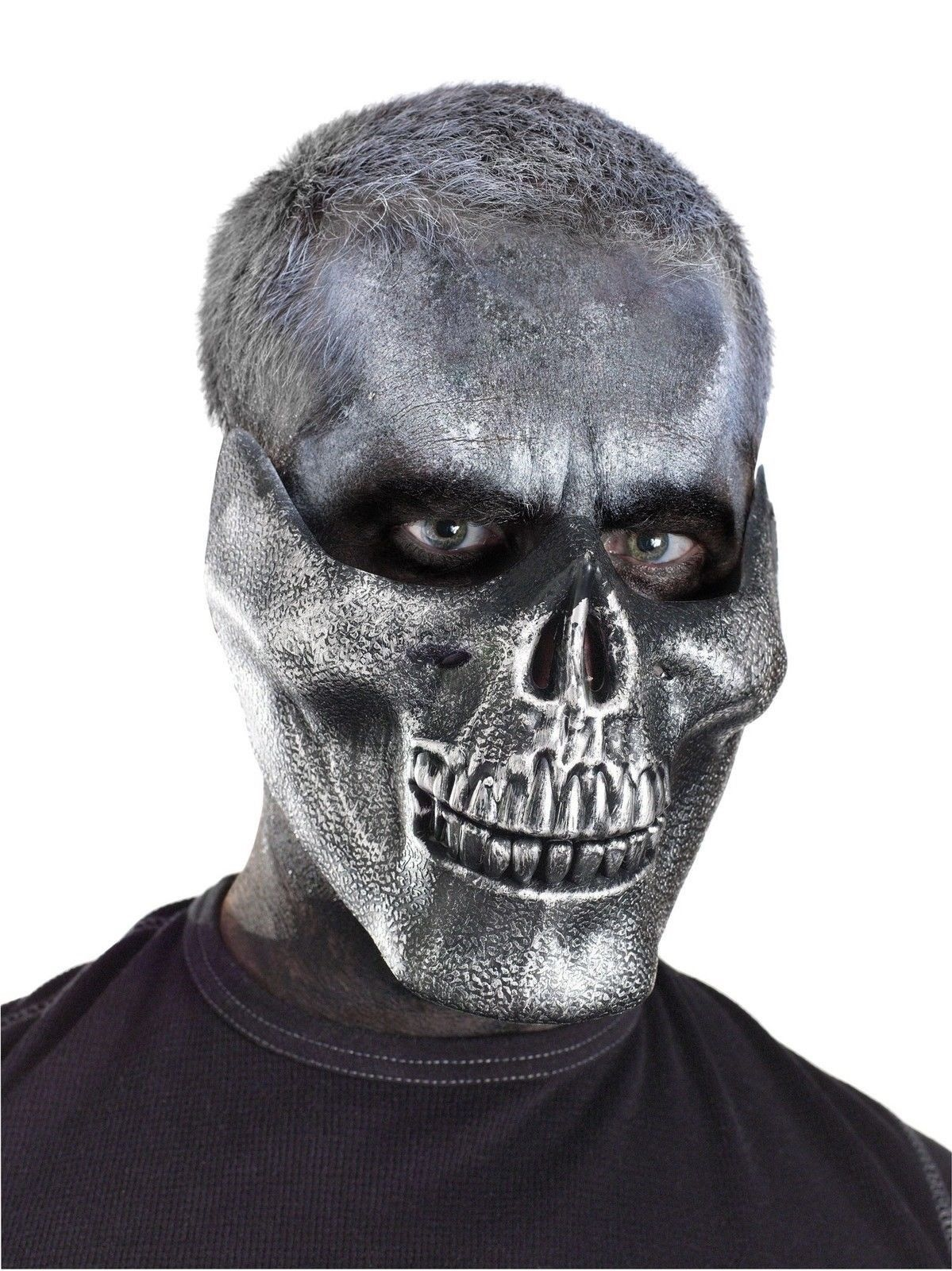 Human SKULL Moving Mouth Mask 2 Part SPFX Halloween Fancy Dress Costume Adult