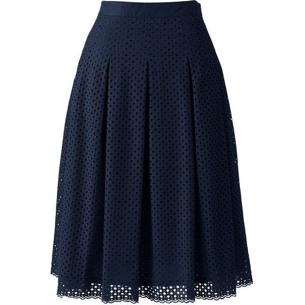 Lands' End Women's Petite Pleated Eyelet A-line Skirt ($79 ...