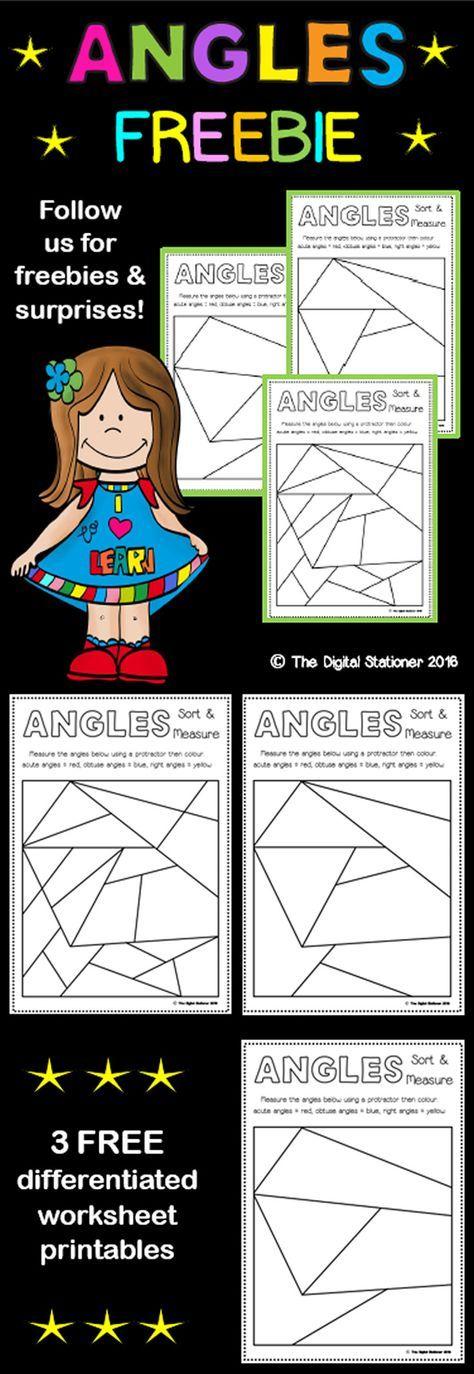 Angles FREEBIE Sort and Measure Grade 6 math, 4th