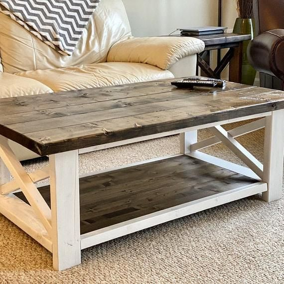 Farm-House Coffee Table: Dark Walnut This farmhouse style coffee table is a great addition to your living room area. With its Ample bottom open shelf, the table provides enough space for entertainment accessories, magazines, and collectibles. This gorgeous coffee table handcrafted from solid pine
