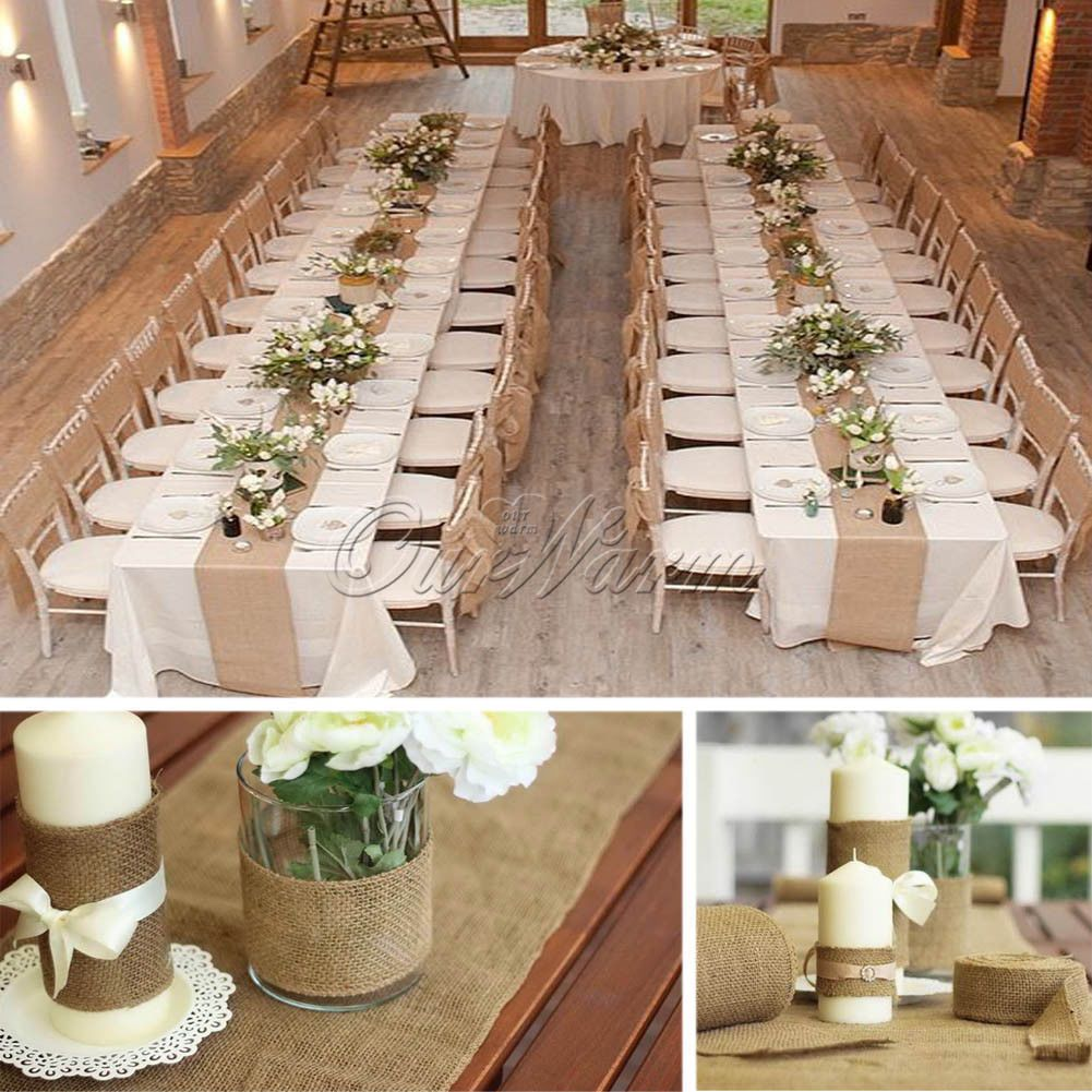 Burlap wedding dress sash  M Hessian Burlap Roll Vintage Table Runner Chair Sash DIY Wedding