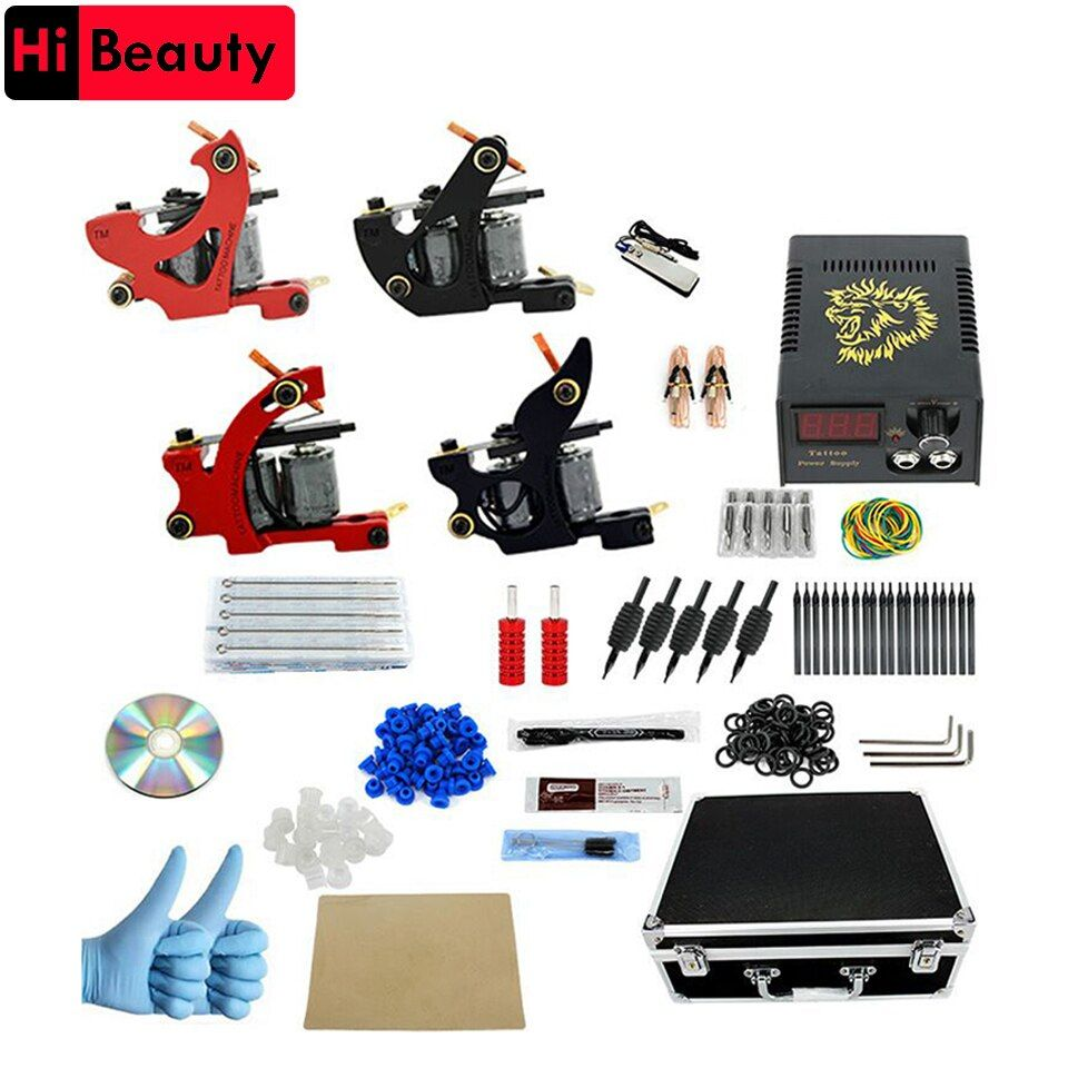 Tattoo Machines Set Complete Kit Power Supply 4 Machine