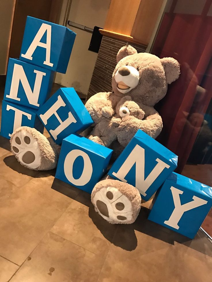 Teddy Bear Baby Name Boxes Baby Shower Baby Boy  Baby Shower
