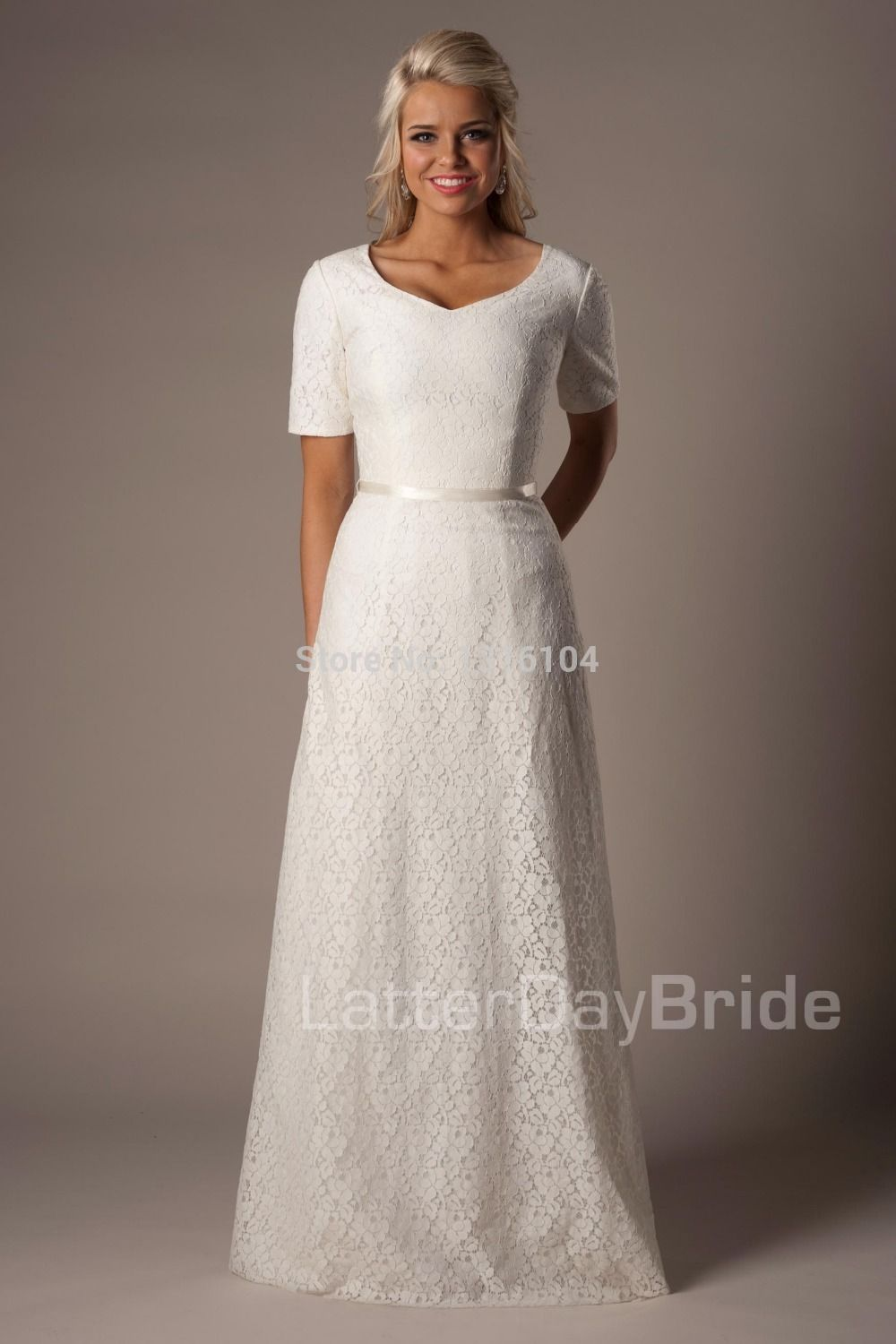 new cheap modest ivory aline long floor length short sleeves