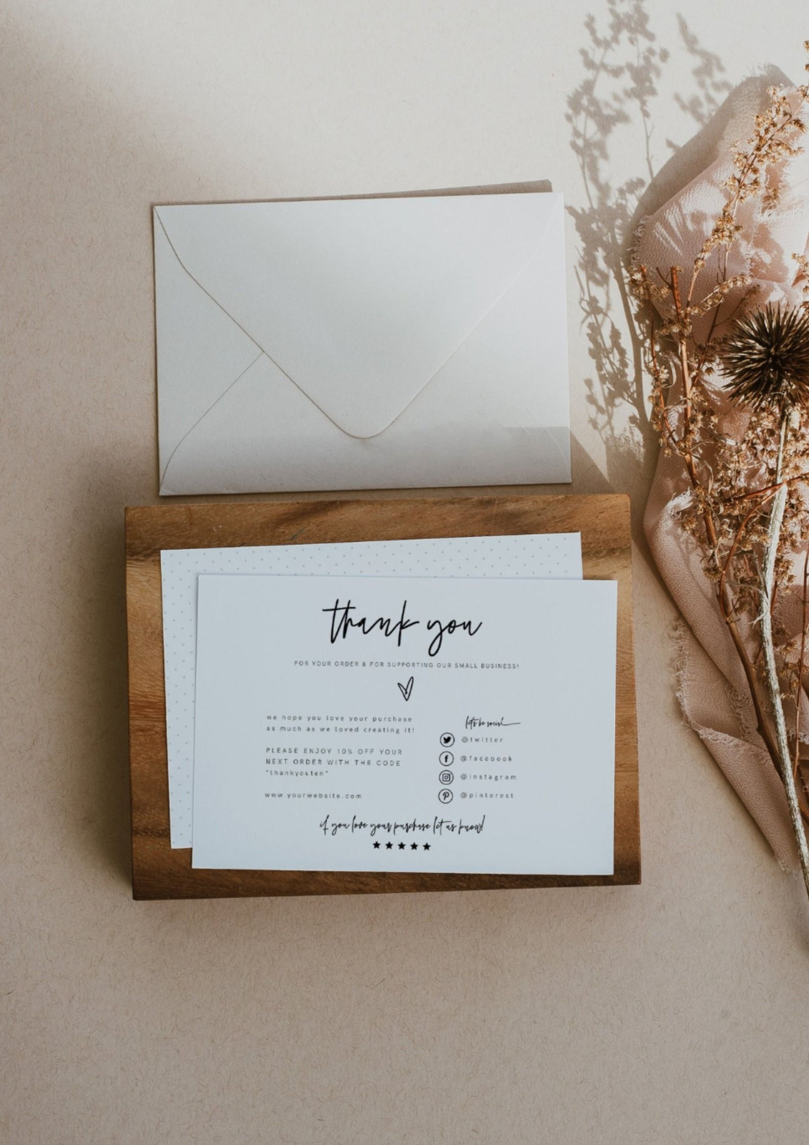Sofia Small Business Thank You Template Editable Small Etsy In 2021 Business Thank You Cards Business Thank You Thank You Template