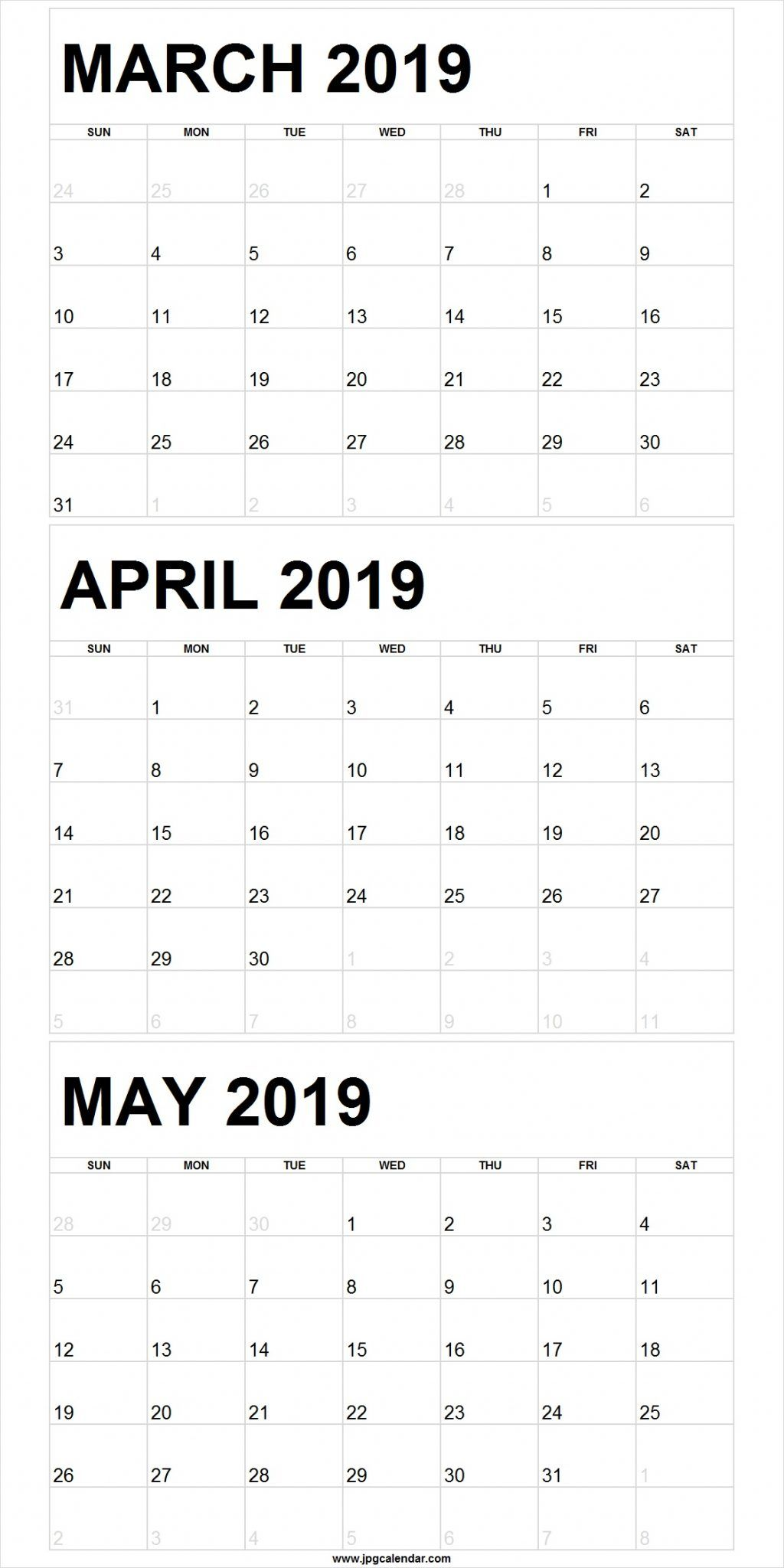 photograph relating to Printable 3 Month Calendar named Blank March in direction of May well 2019 Calendar Printable 250+ No cost