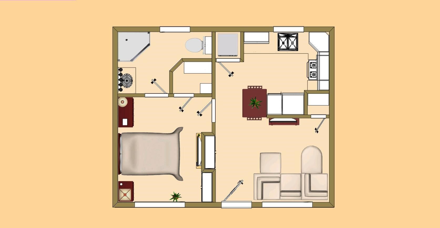 Image Result For Small Square Guest House Designs Cottage Floor Plans Small House Floor Plans Small House Plans