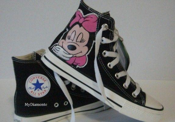 ba41d9a6e19c Hand Painted Minnie Mouse On Black Converse Shoes COP12  converse ...